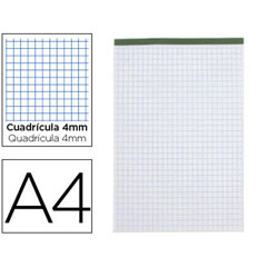 Material BLOC NOTAS LIDERPAPEL CUADRO 4 MM A4 80 HOJAS 60 G/M2 PERFORADO SIN TAPA