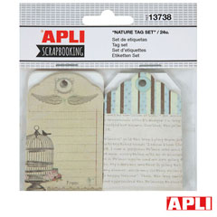 B SET SCRAP ETIQ CON ARANDELA NATURE 24UNID APLI (13738) Productos originales baratos Scrapbooking